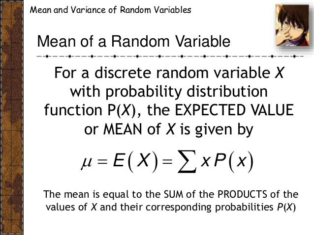 expectation of discrete random variable example