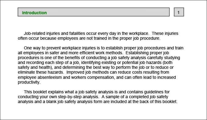 job safety analysis worksheet example