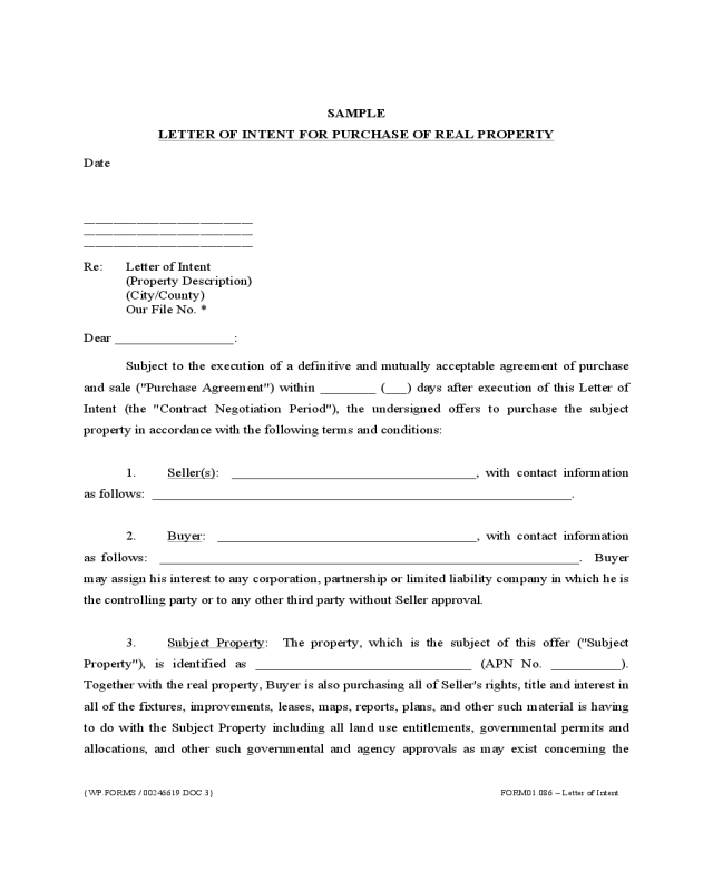 non binding letter of intent example