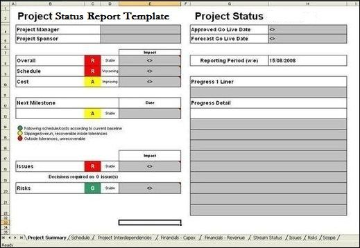 it project manager reports example