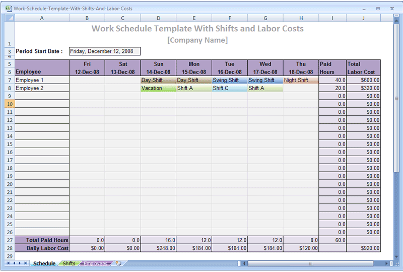 production schedule in business plan example