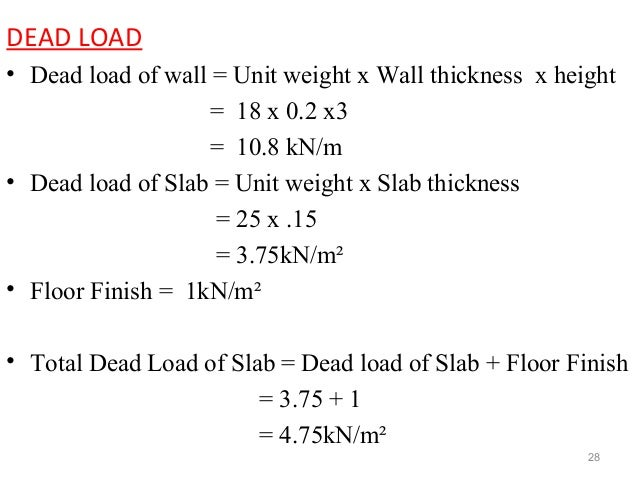 roof dead load calculation example
