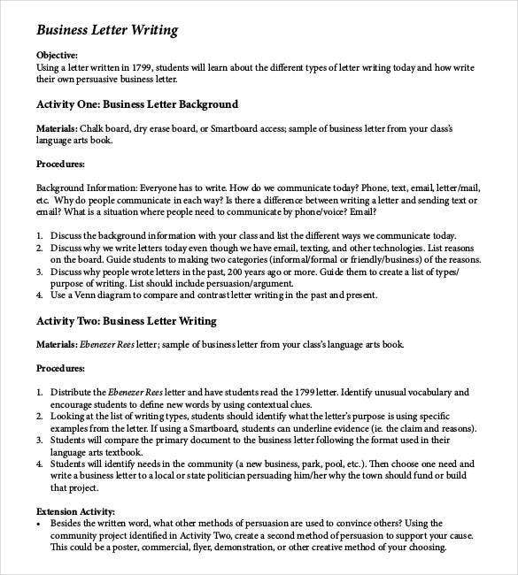 how to write a business letter example