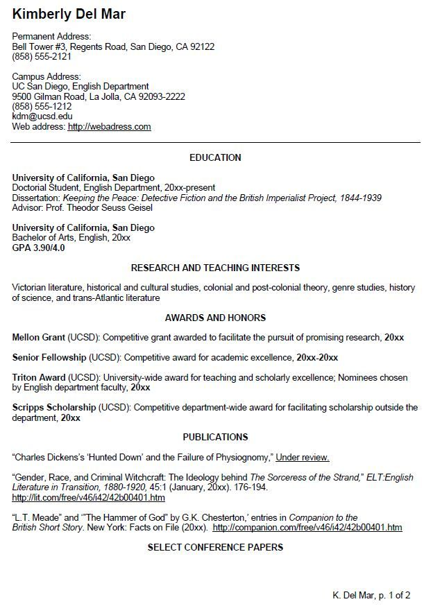 resume english example for student