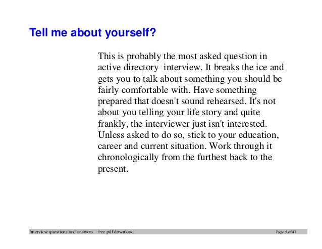 tell me about yourself answer example pdf
